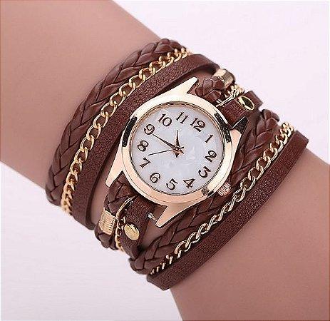 Relógio / Bracelete Com Pulseira De Couro Marrom Quartzo