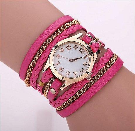 Relógio / Bracelete Com Pulseira De Couro Rosa Quartzo
