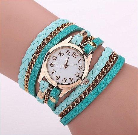 Relógio / Bracelete Com Pulseira De Couro Verde água Quartzo