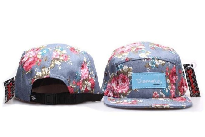 Boné 5 Panel Diamond Supply - Floral Claro