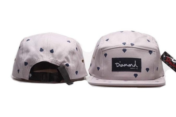 Boné 5 Panel Diamond Supply - Cinza Com Diamantes Azul