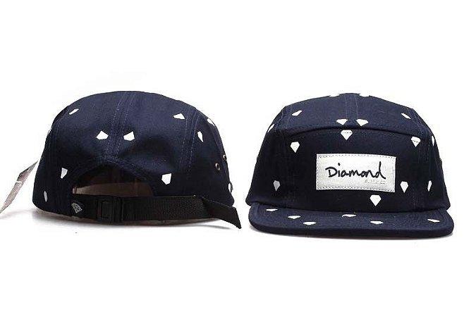 Bonés 5 Panel Diamond Supply - Azul Com Diamantes Branco