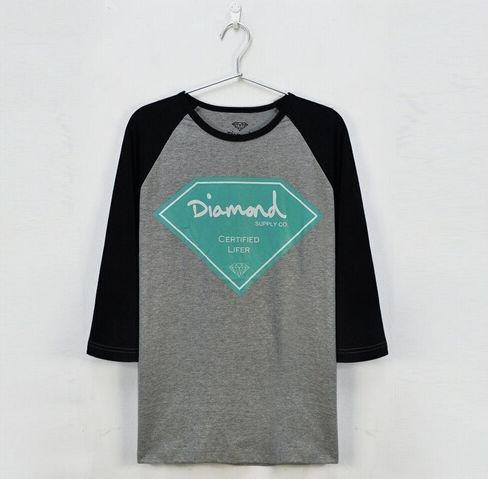Camiseta Manga Longa Feminina Diamond Supply  ( Cinza Com Preto )