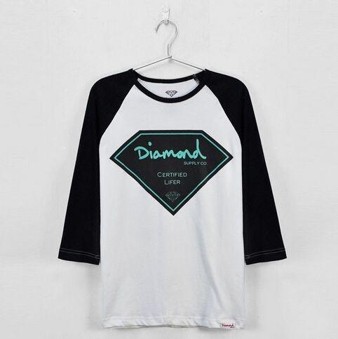 Camiseta Manga Longa Feminina Diamond Supply ( Branca Com Preto )