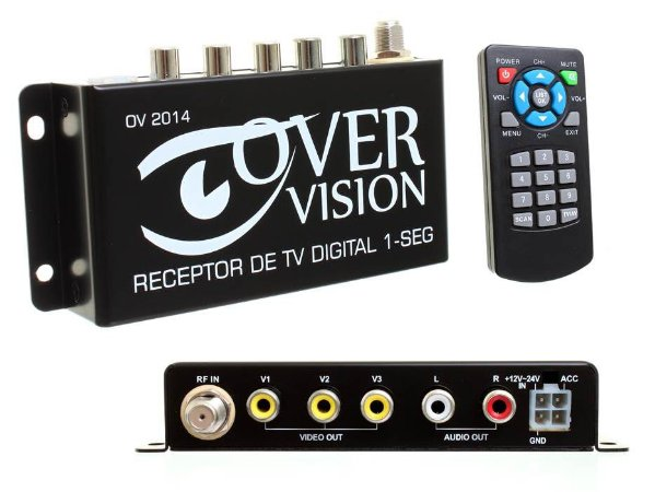 Receptor TV Digital OneSeg único c/3 saídas Automotivo