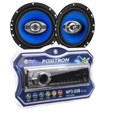 KIT Som Automotivo Positron SP2210 + Par Alto Falante 6""