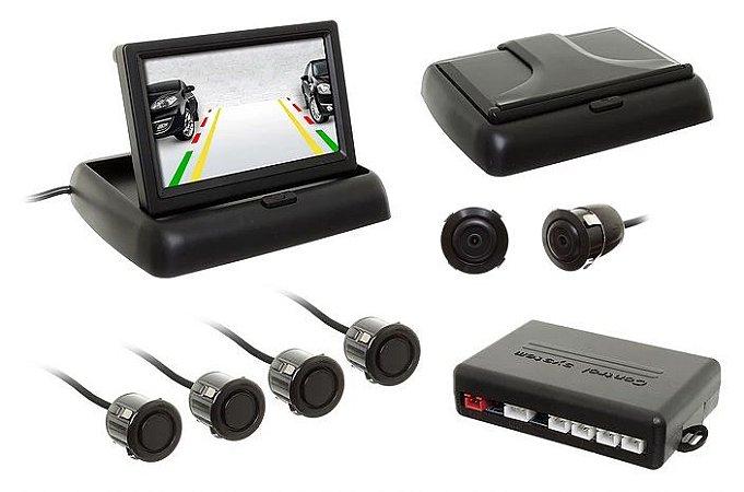 """Sensor de Estacionamento c/câmera Flip-Down Tela 4,3"""" Preto"""