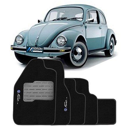 Tapete Carpete Flash VW Fusca Preto 5 Pçs