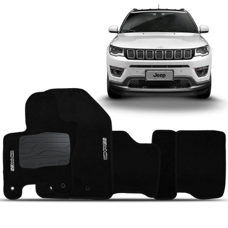 Jogo Tapete Carpete Perso Flash Jeep Compass Preto 5 Pçs