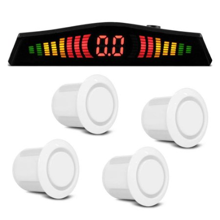 Sensor Re Estacionamento Display Led Slim 4 Sensores Branco