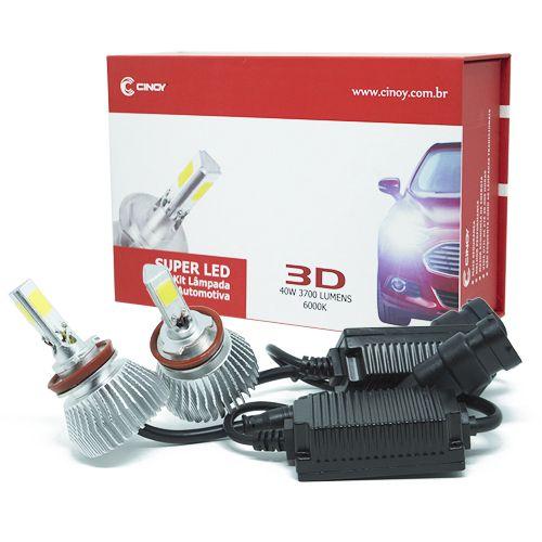 Kit Lâmpada Super LED 3D Headlight H4 40W 6000K 3700LM