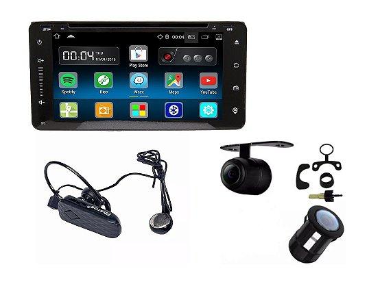 Central Multimidia Caska Toyota + Fone Bluetooth + Câmera Ré