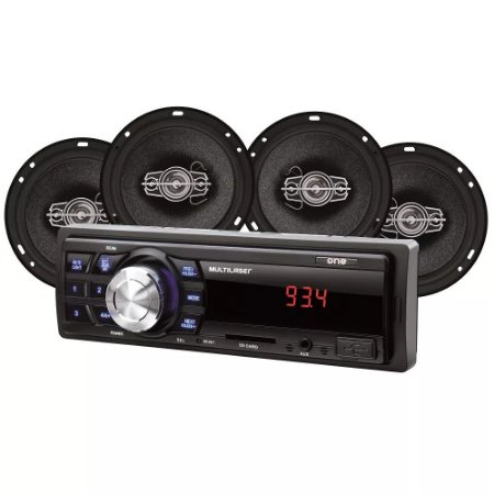 Rádio New One + 4 Alto Falante 6 Polegas Quad 60W Rms