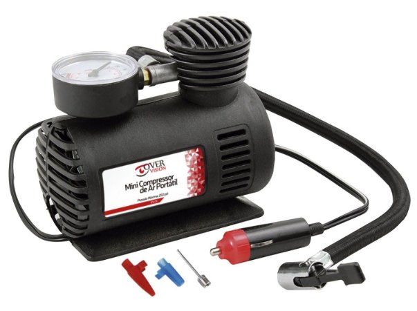 Mini Compressor de Ar Automotivo 250PSi 12V Preto