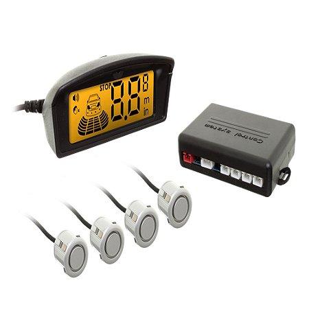Sensor Ré Display 4 Sensores Prata + Retrovisor Com Câmera