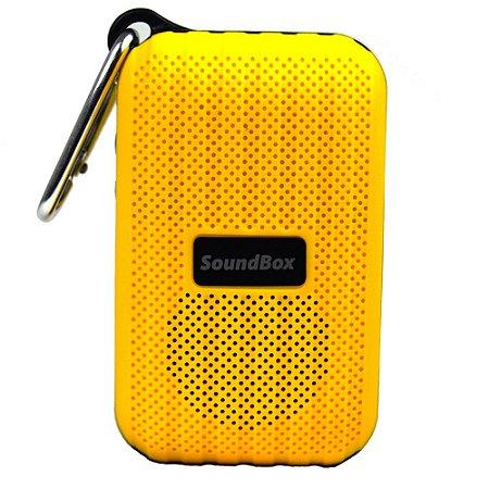 Caixa Acústica Bluetooth Portátil V5 Com Mosquetão - Amarelo