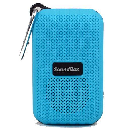 Caixa Acústica Bluetooth Portátil V5 Com Mosquetão - Azul