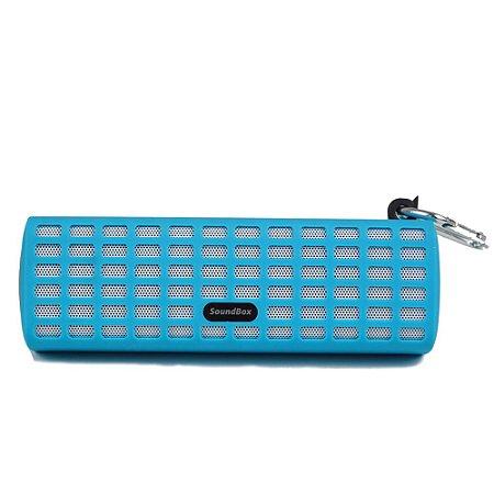 Caixa de Som Bluetooth V7 com Mosquetão - Azul