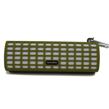Caixa de Som Bluetooth V7 com Mosquetão - Verde Militar