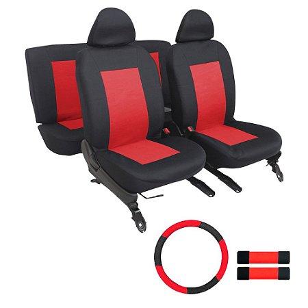 Kit Capa Banco Volante e Protetor Cinto Universal - Vermelho