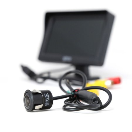 Câmera de Ré Frontal e Traseira Com Display 4.3 Polegadas