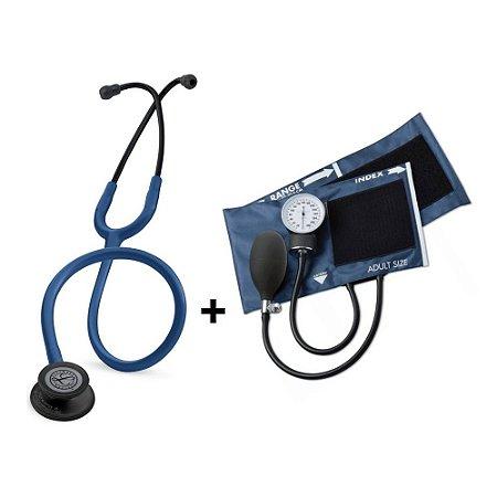 Estetoscópio Littmann Classic III Azul Marinho Black + Esfigmomanômetro ADC