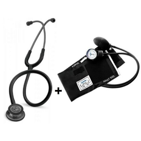 Estetoscópio Littmann Classic III Black Smoke + Esfigmomanômetro Quanta