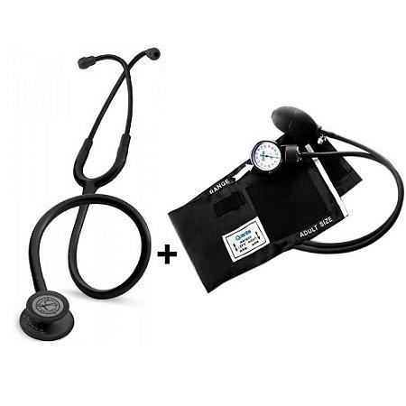 Estetoscópio Littmann Classic III Black Edition + Esfigmomanômetro Quanta