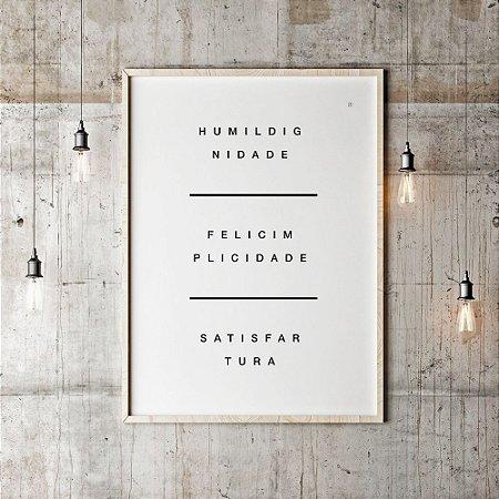 Quadro Poster Decorativo Criativo Tripé da Vida - Frase, Palavras, Minimalista