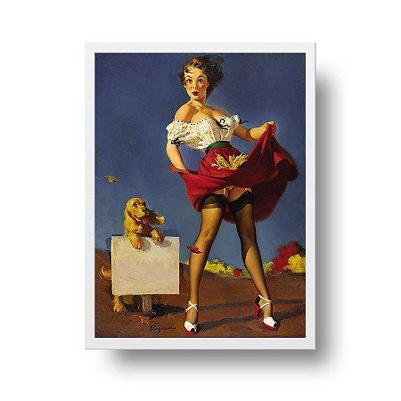 Quadro Poster Decorativo Pin Up Girl Fresh Breeze With Dog - Vintage, Saia Voando