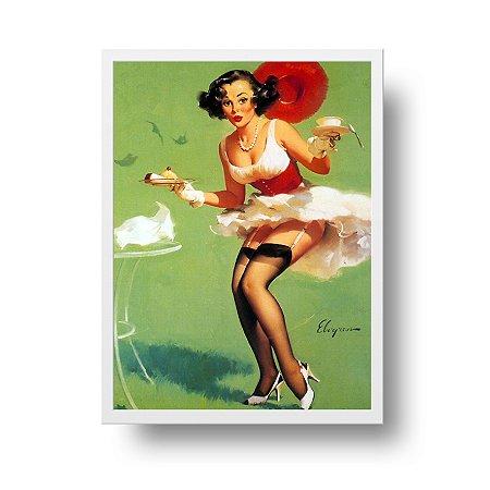 Quadro Poster Decorativo Pin Up Girl Fresh Breeze & Desert - Vintage, Saia Voando