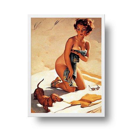 Quadro Poster Decorativo Pin Up Girl Com Cachorro na Praia - Vintage, Retrô