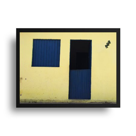 Quadro Poster Decorativo Foto Janela Azul - Casa, Fachada Amarela