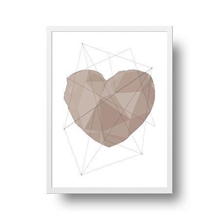 Quadro Poster Decorativo Amor Coração Geométrico Rosé - Love, 3D, Minimalista
