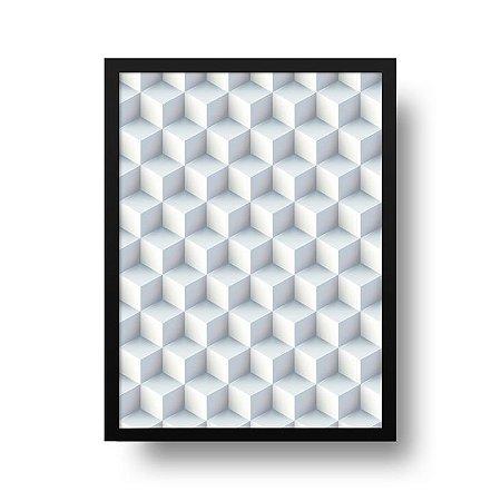 Quadro Poster Decorativo Geométrico Gelo - Cubos, Blocos, 3D, Abstrato