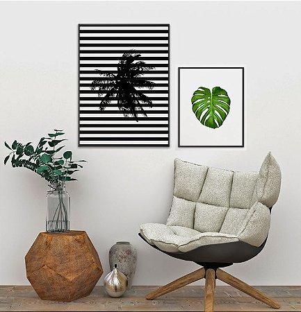 Conjunto de Quadros Posters Geométrico Coqueiro 50x70 cm + Costela de Adão 40x50 cm - Molduras Pretas