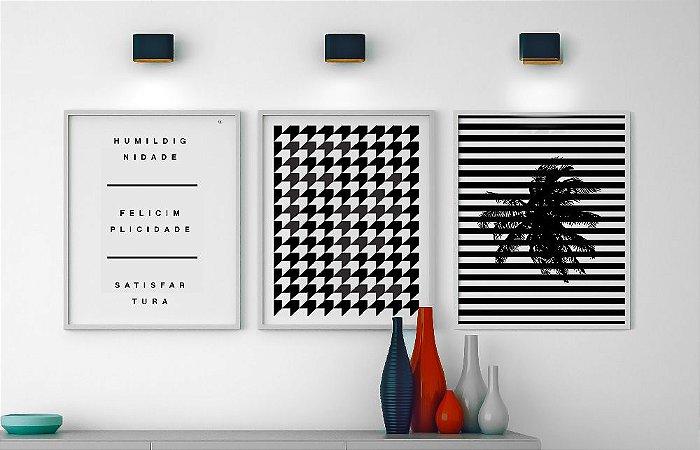 Conjunto de Quadros Posters Tripé da Vida + Geométrico Fé + Geométrico Coqueiro 40x50 cm Cada - Molduras Brancas