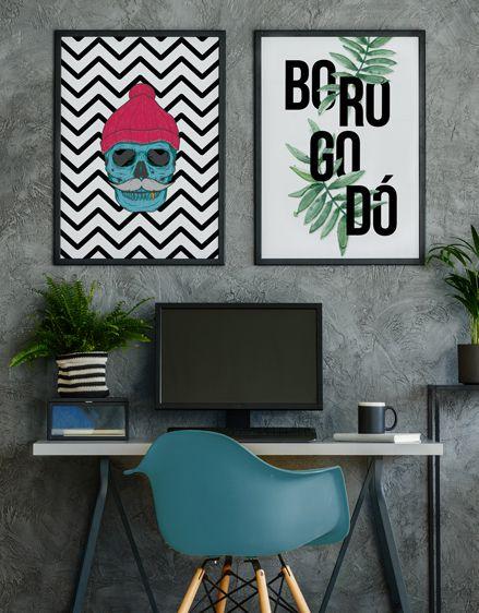 Conjunto de Quadros Posters Geométrico Caveira + Borogodó 50x70 cm Cada - Molduras Pretas