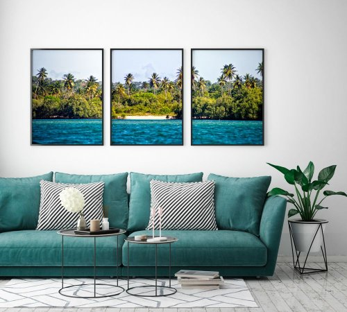 Conjunto de Quadros Posters Fotografia Ilha de Itaparica 50x70 cm Cada - Molduras Pretas