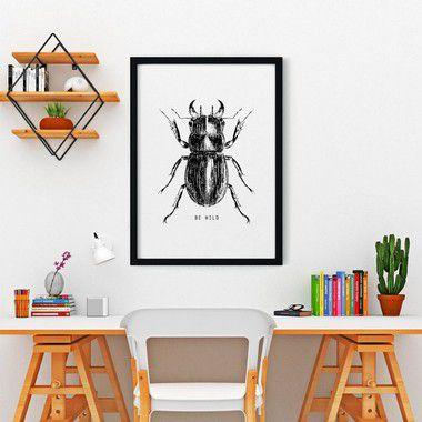Quadro Poster Decorativo Natureza Inseto Besouro - Preto e Branco, Minimalista