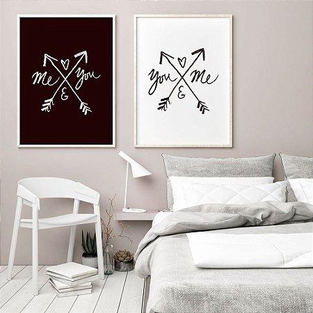 Conjunto 2 Quadros Decorativos Flechas - Frase Amor, You ande Me, Me and You