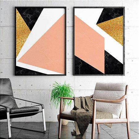 Conjunto de Quadros Posters Geométricos Marble Shine
