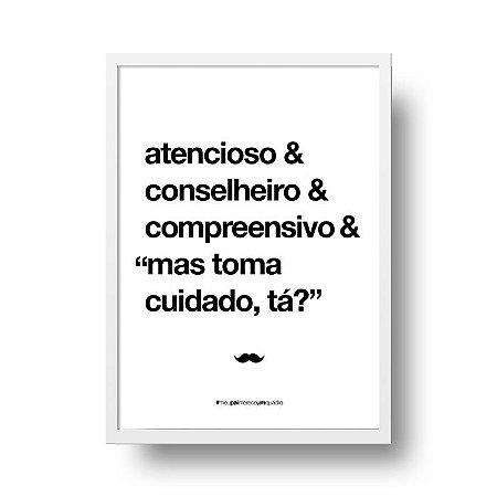 Quadro Poster Decorativo Para Pai Atencioso - Palavras, Homenagem, Pais