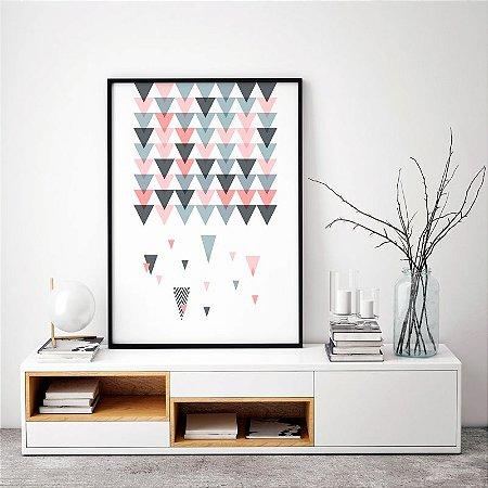 Quadro Poster Decorativo Geométrico Escandinavo - Abstrato, Chuva, Triângulos, Minimalista