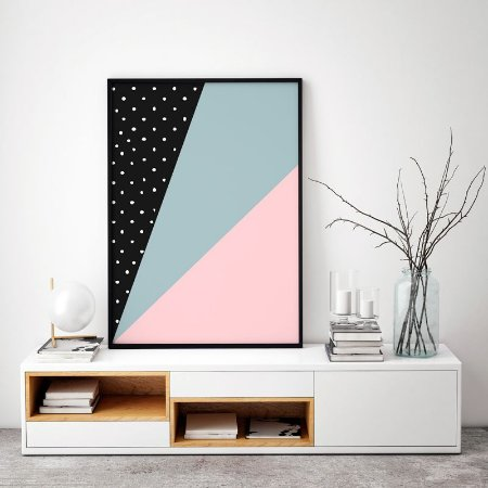 Quadro Poster Decorativo Geométrico Escandinavo - Abstrato, Faixas, Triângulos, Minimalista