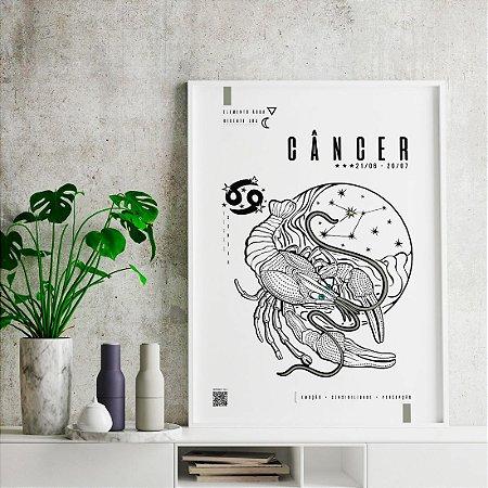 Quadro Poster Decorativo Signo Câncer Com Realidade Aumentada