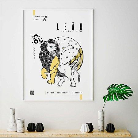 Quadro Poster Decorativo Signo Leão Com Realidade Aumentada