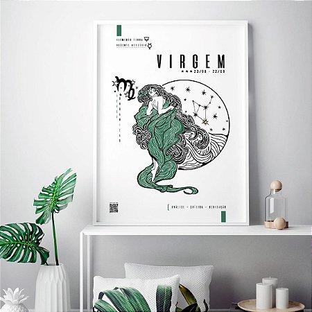 Quadro Poster Decorativo Signo Virgem Com Realidade Aumentada