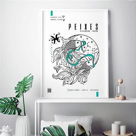Quadro Poster Decorativo Signo Peixes Com Realidade Aumentada