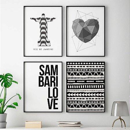 Conjunto 4 Quadros Decorativos Cristo Redentor, Coração Cinza, Sambarilove, Geométrico Asteca -  Composição, Minimalista, Preto e Branco